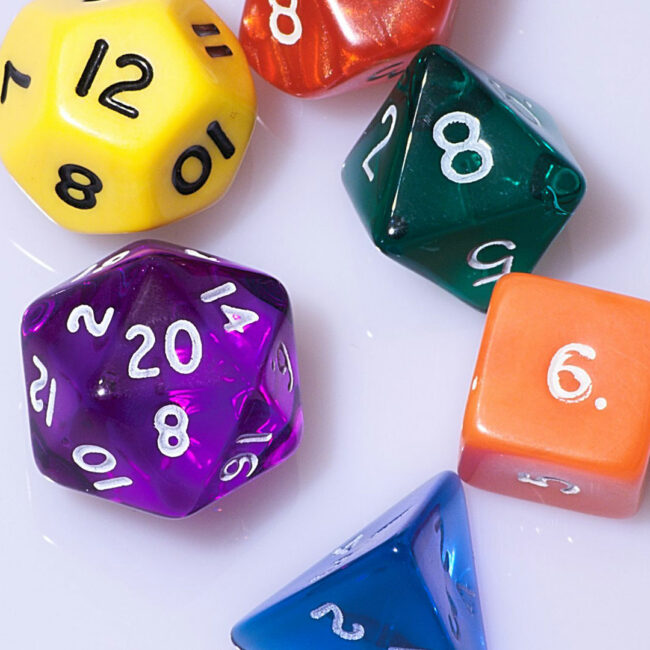Multi-sided dice from Dungeons and Dragons