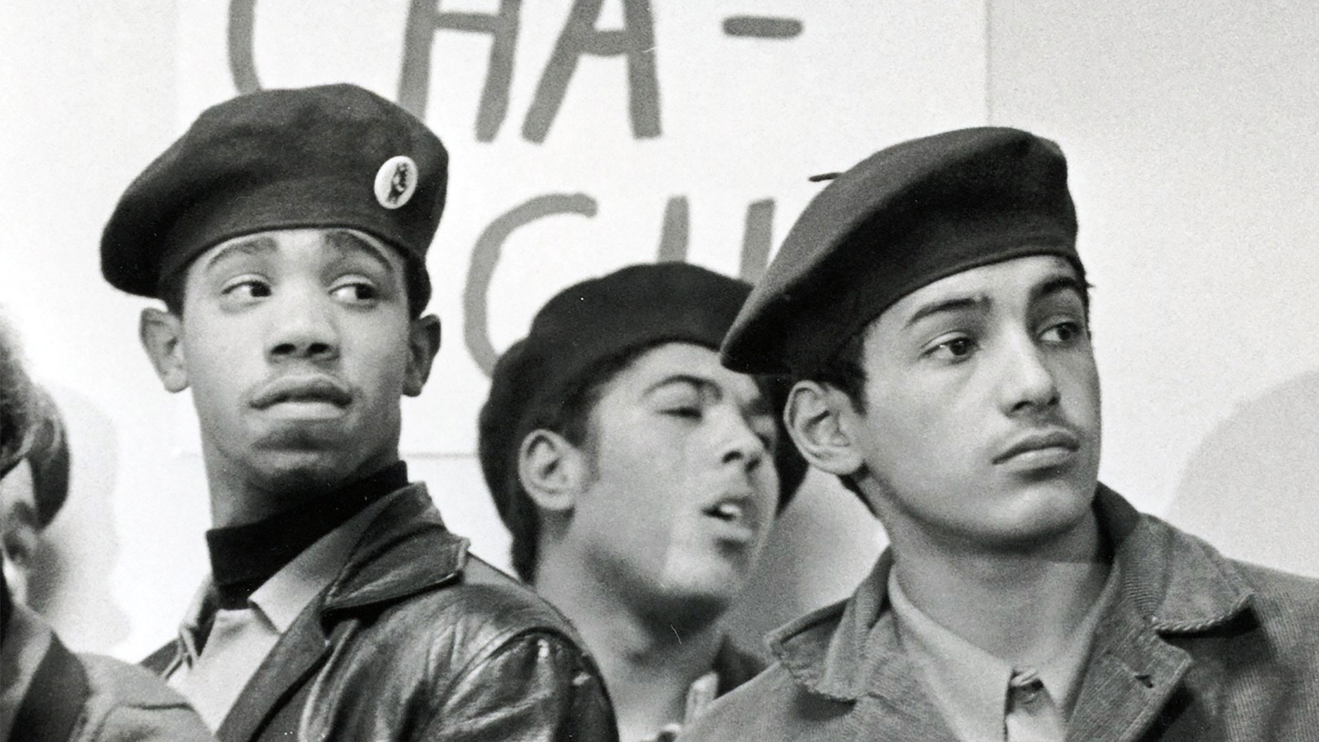 From First Rainbow Coalition: Young Lords members protest at 18th Ave. Police Station, Chicago
