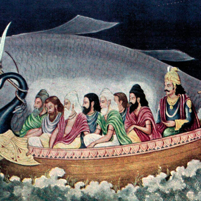Matsya pulls a boat carrying Manu and Saptarishi during Pralaya