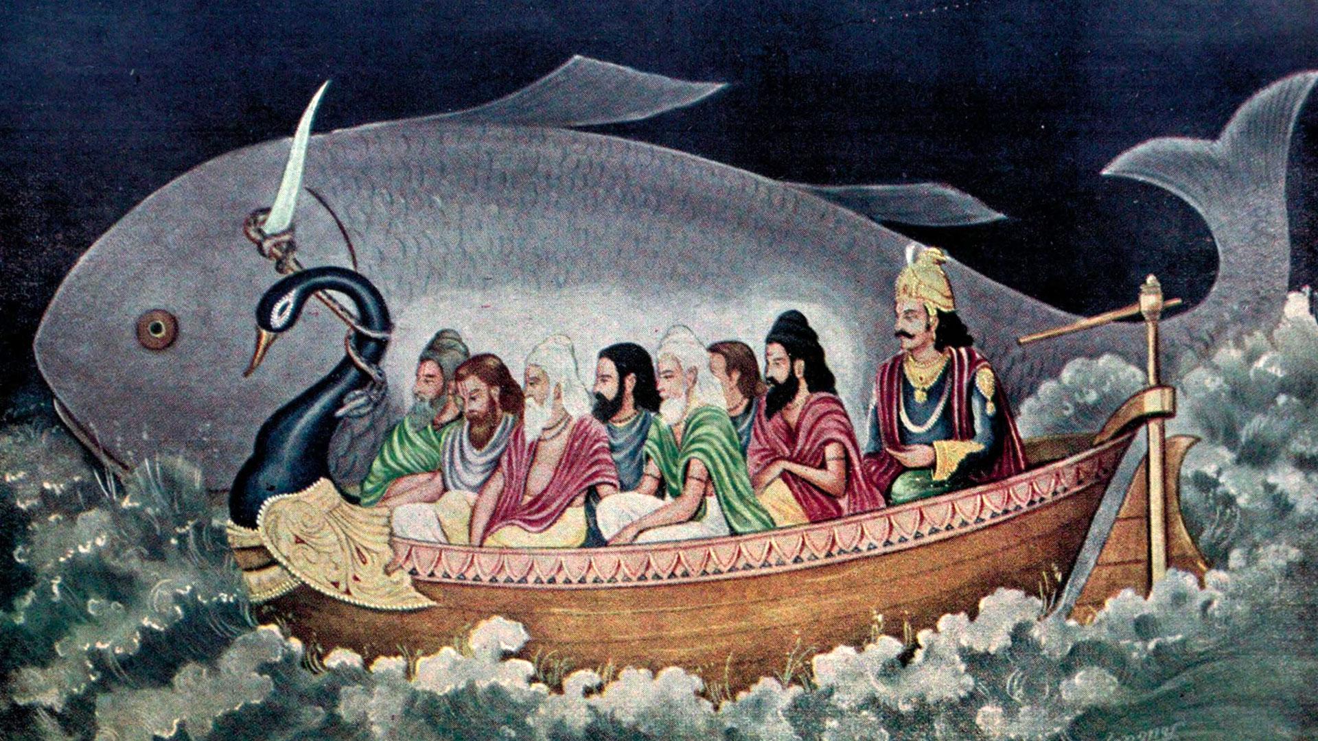 Matsya pulls a boat carrying Manu and Saptarishi during Pralaya