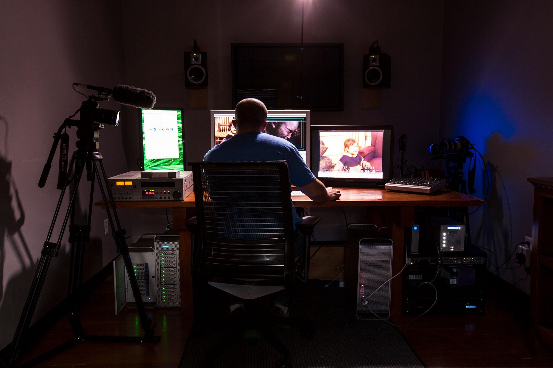 Sasha Neulinger editing Rewind in his editing suite