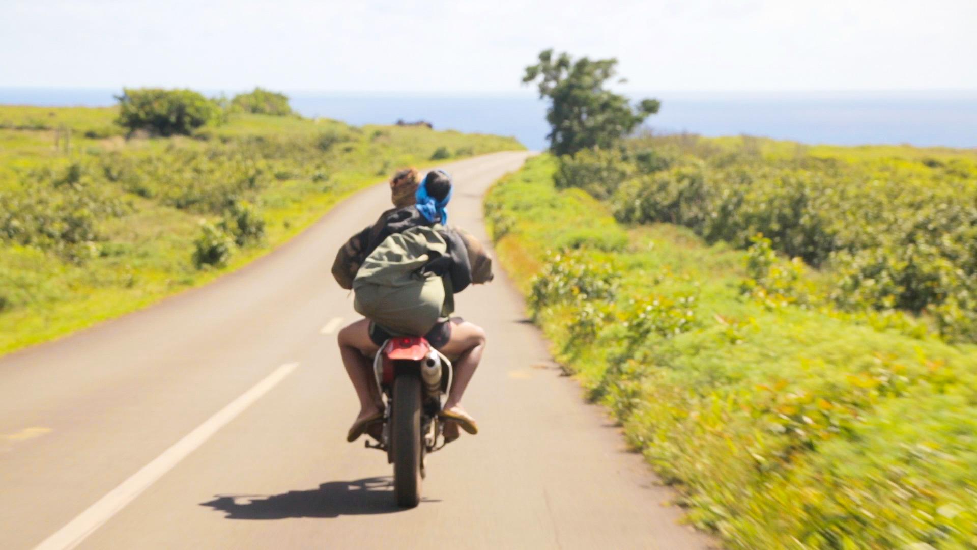 Riding a motorbike on Rapa Nui (Easter Island)