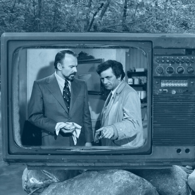 Composite image of a vintage TV on a creek with a episode of Colombo playing on it