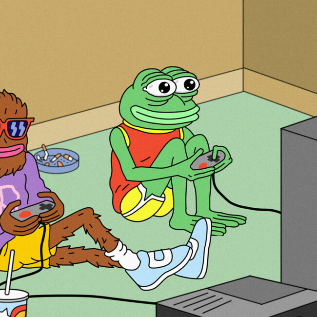 From animation of Pepe the Frog playing a video game with pal, from Matt Furie art