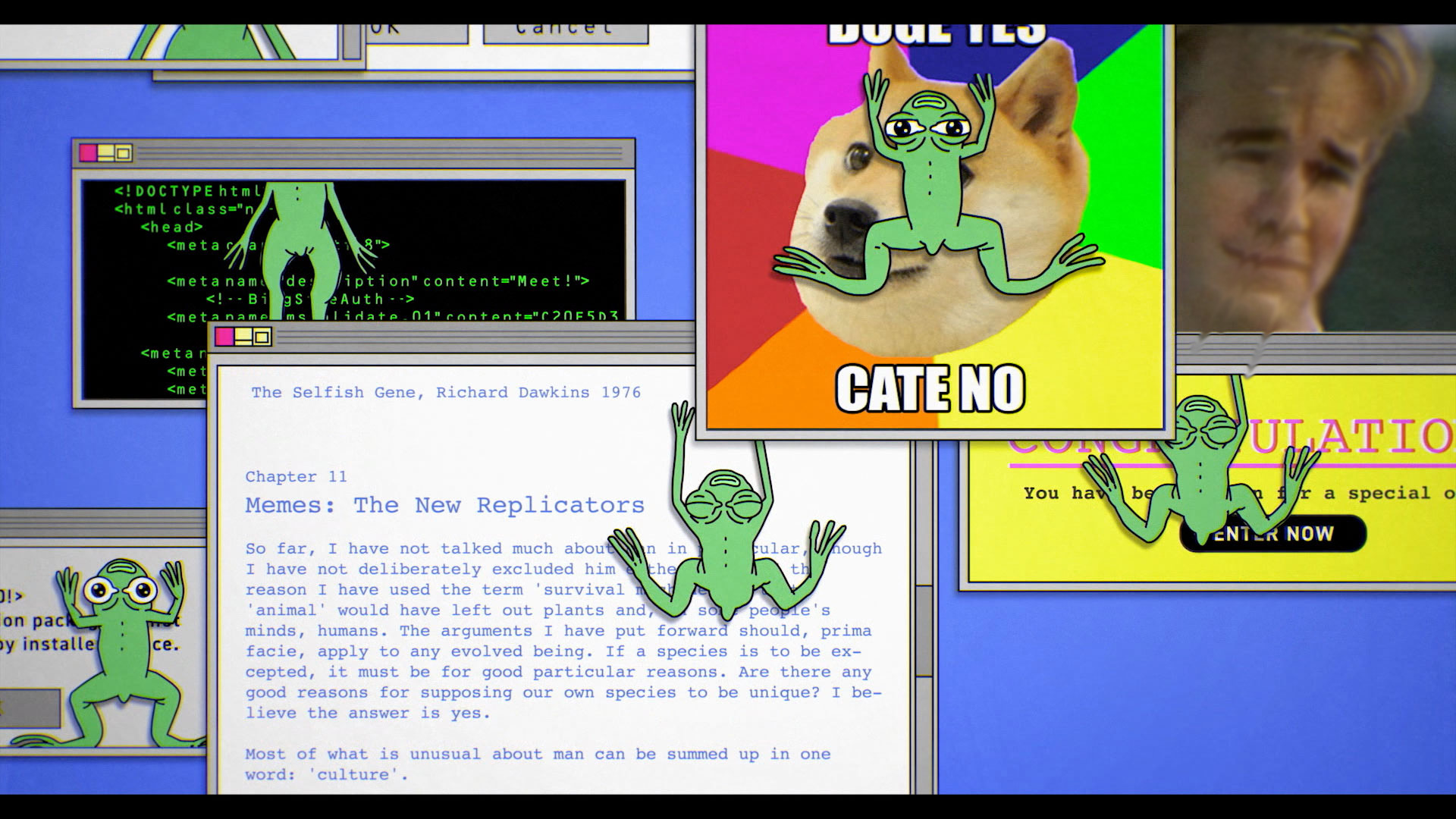 From an animation in Feels Good Man of a desktop full of memes, Pepe the frog and otherwise