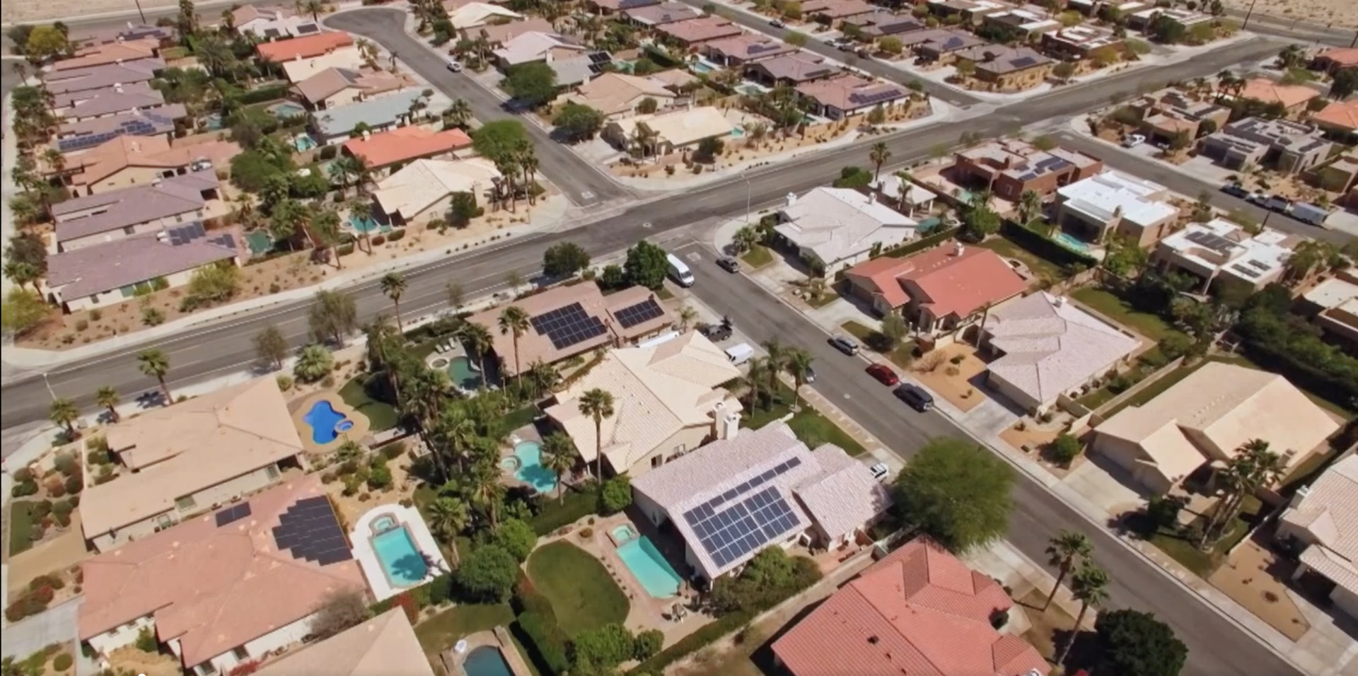 overhead shot of las vegas homes with solar paneled roofs, from Power Trip
