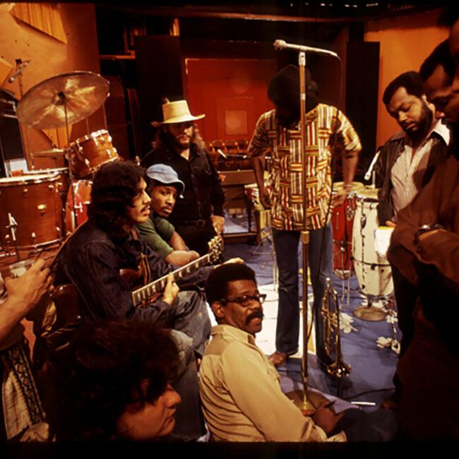 Ellis Haizlip on the set of SOUL! withEllis Haizlip on the set of SOUL! with the band Mandrill the band Mandrill; Photo by Alex Harsley