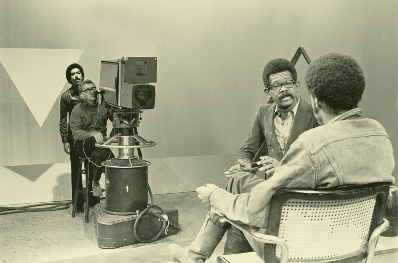 On the set of SOUL! with Ellis Haizlip interviewing Melvin Van Peebles [Credit: Chester Higgins]
