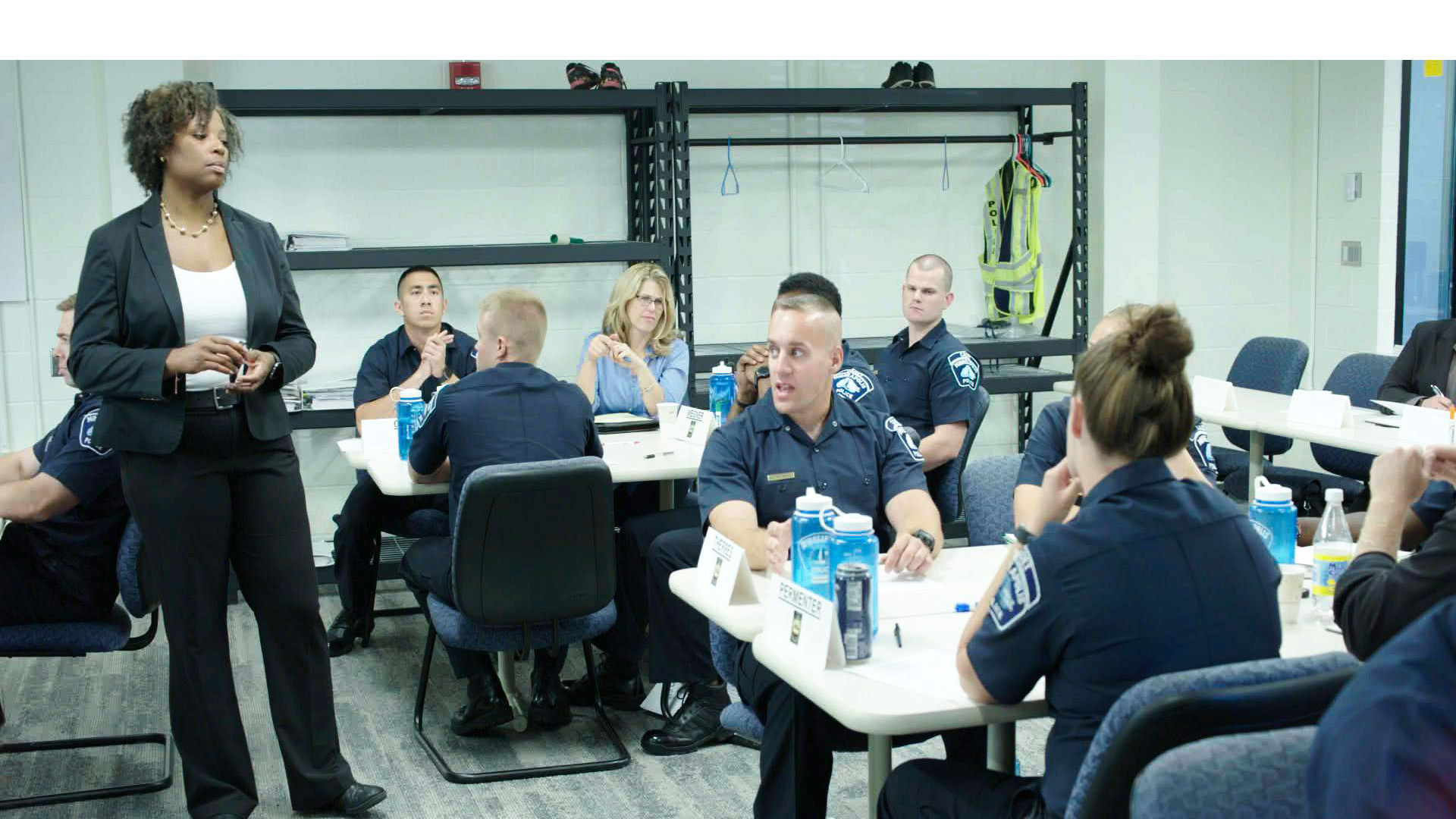 Sgt. Alice White training cadets in procedural justice