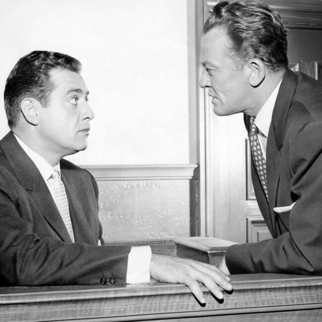 Photograph of Raymond Burr and William Talman the CBS-TV series Perry Mason