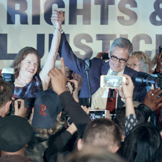 Larry Krasner and his team celebrates their victory on election night in Philadelphia