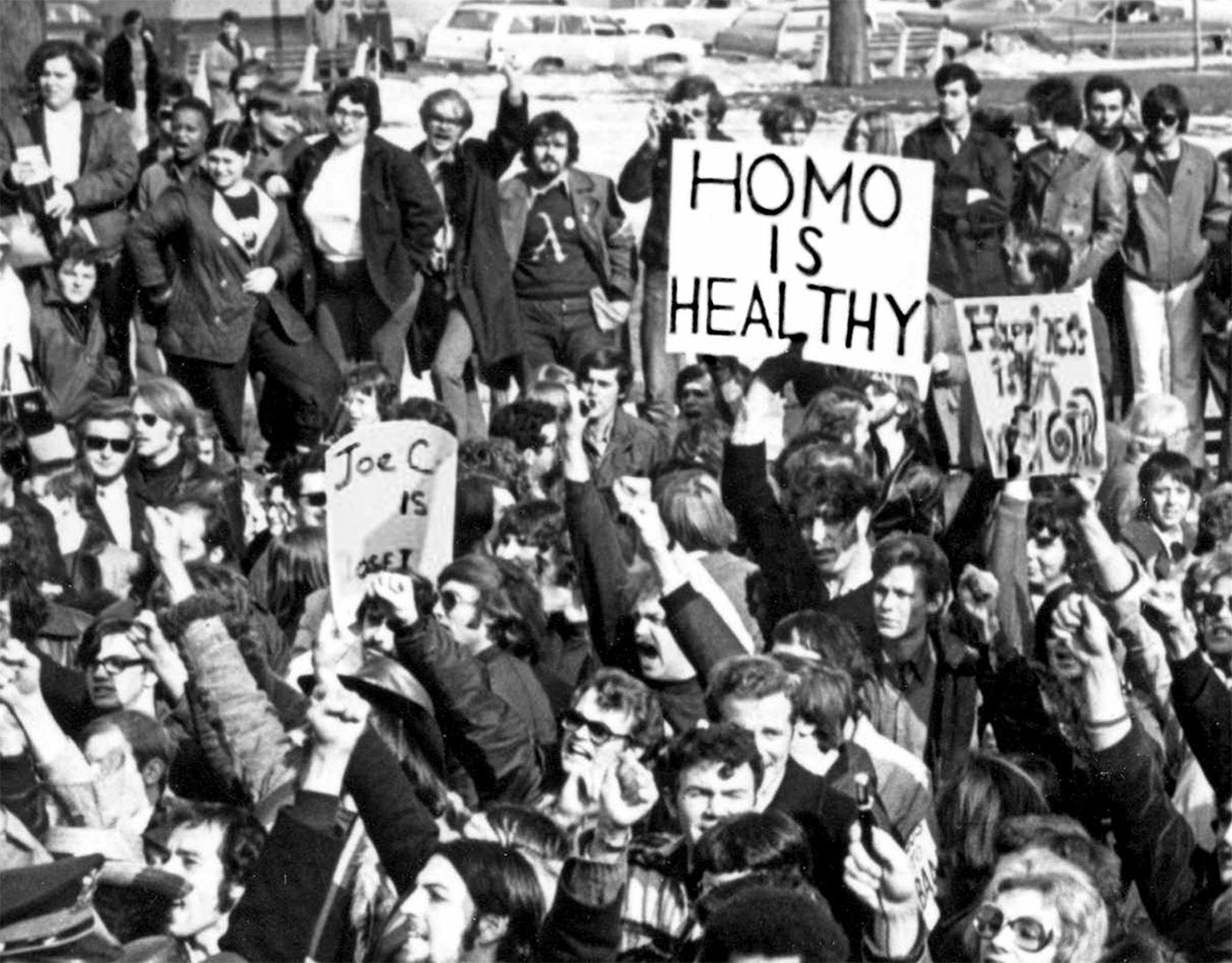 Demonstrators gathered in Albany, New York, in 1971 to demand gay rights and to declare that
