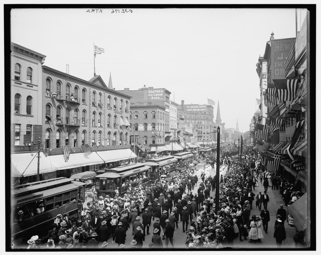 Labor Day parade, Main St., Buffalo, N.Y. Date	circa 1900 (between 1896 and 1908, based on number of stars on US flag). Photo courtesy of the Library of Congress.