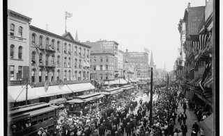 Labor Day parade, Main St., Buffalo, N.Y. Datecirca 1900 (between 1896 and 1908, based on number of stars on US flag). Photo courtesy of the LIbrary of Congress.