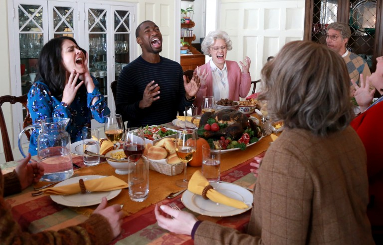 """SATURDAY NIGHT LIVE -- """"Matthew McConaughey"""" Episode 1689 -- Pictured: (l-r) Cecily Strong, Jay Pharoah, Kate McKinnon, and Matthew McConaughey during the """"Thanksgiving Miracle"""" sketch on November 21, 2015 -- (Photo by: Dana Edelson/NBC/NBCU Photo Bank via Getty Images)"""