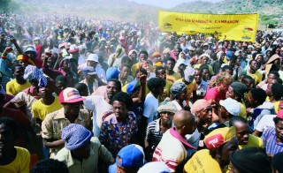 Crowd at Funeral of Anti-Apartheid Leader Peter Nchabeleng