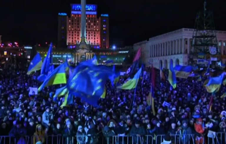 Protesters have been storming the streets in Kiev since December in response to Ukrainian president Viktor F. Yanukovich declining an economic deal with the European Union. Video still by PBS NewsHour