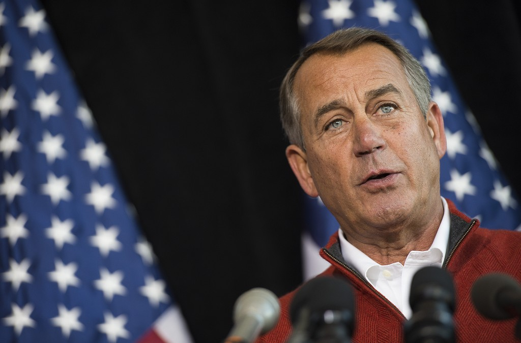 Speaker of the House John Boehner spoke to the press on Thursday, at the House Republican Issue Conference in Cambridge, Maryland. Photo by Jim Watson AFP/Getty Images.