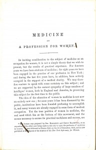 """Medicine as a Profession for Women,"" by Drs. Elizabeth and Emily Blackwell, published by the Trustees of the New York Infirmary for Women in 1860. Image by the National Library of Medicine"