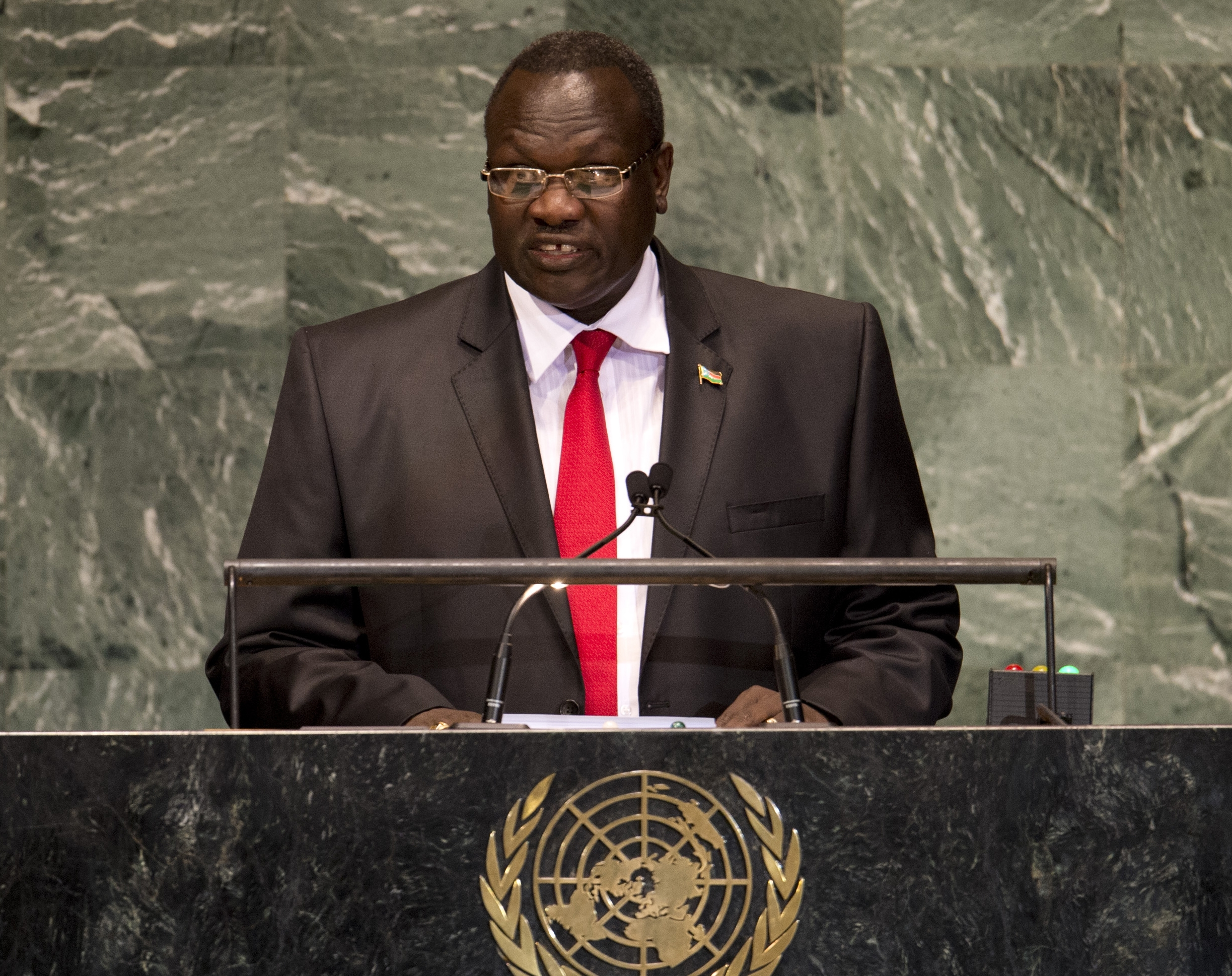 South Sudan's Vice President Riek Machar, here addressing the United Nations General Assembly meeting on Sept. 27, 2012, remains in hiding. Photo by Don Emmert/AFP/Getty Images
