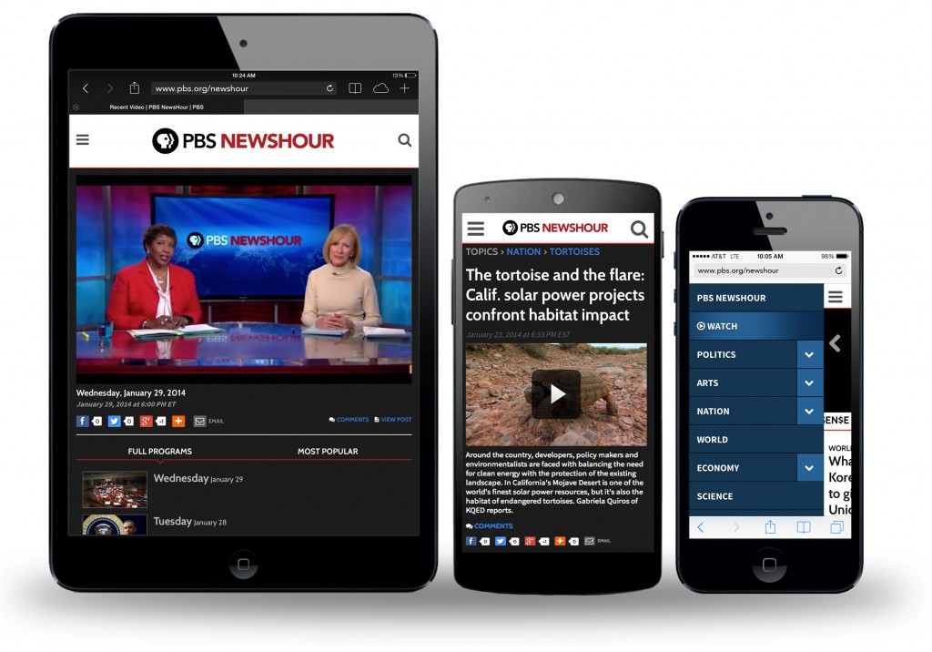 Every page of the new PBS NewsHour site is designed to display well on a phone, tablet, or computer screen.