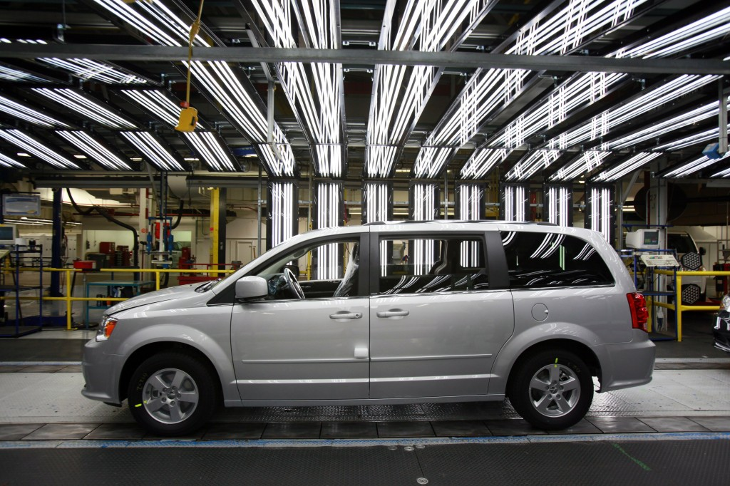 WINDSOR, CANADA - JANUARY 18: Cars sold in the U.S., like this Chrysler Minivan at an assembly plant in Windsor, Ontario, Canada, may bear the distinction of being