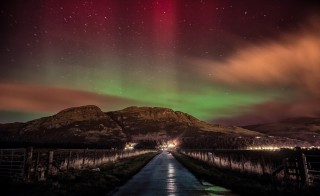Northern lights activity in Scotland's Ochil Hills near Menstrie. Photo by Flickr user Brian Smith.