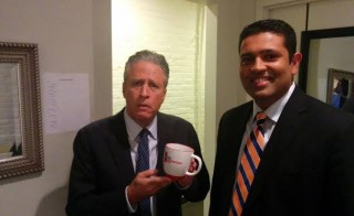 Jon Stewart and Hari Sreenivasan