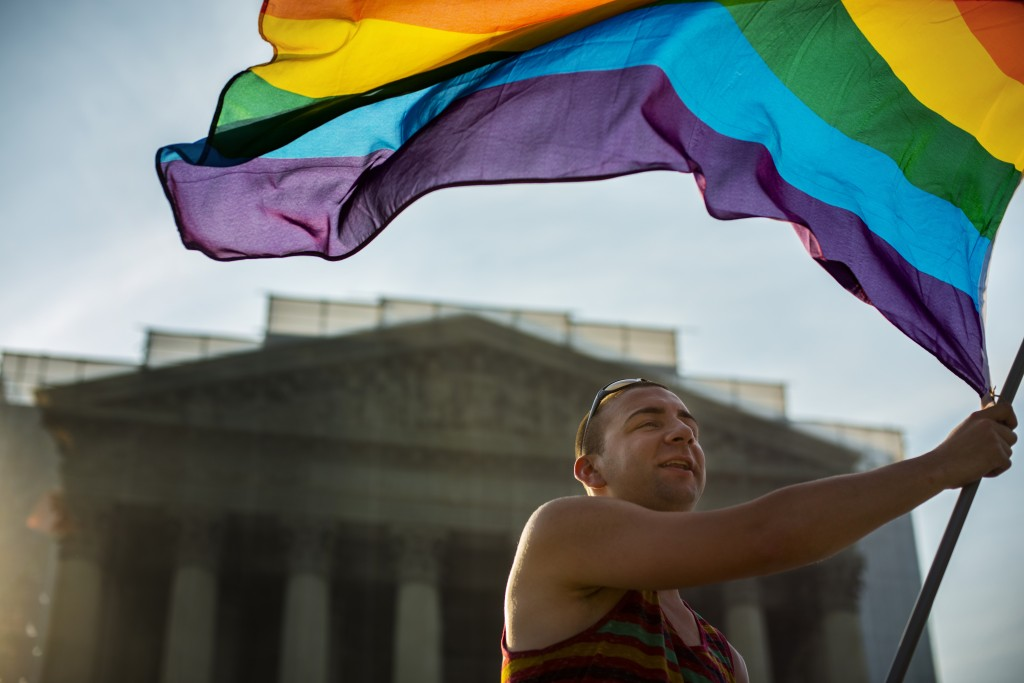 Gay rights supports crowded outside the Supreme Court in June, 2013, awaiting word on the fate of the Defense of Marriage Act. Photo by Marvin Joseph/The Washington Post via Getty Images