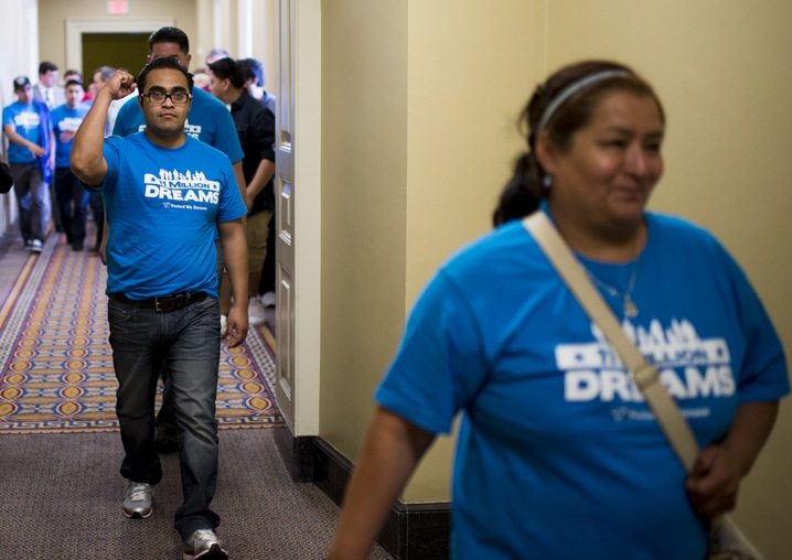 Immigration reform supporters leave the Senate chamber in the Capitol after watching passage of the Senate immigration reform bill on Thursday, June 27, 2013. (Photo By Bill Clark/CQ Roll Call)