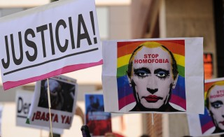 Protesters in Madrid rally against Russian anti-gay laws in August, in preparation for the 2014 Winter Olympics in Sochi, Russia. On Wednesday U.S. Olympic Committee sponsor AT&T published a blog condemning the Russian law. Photo by Denis Doyle/Getty Images