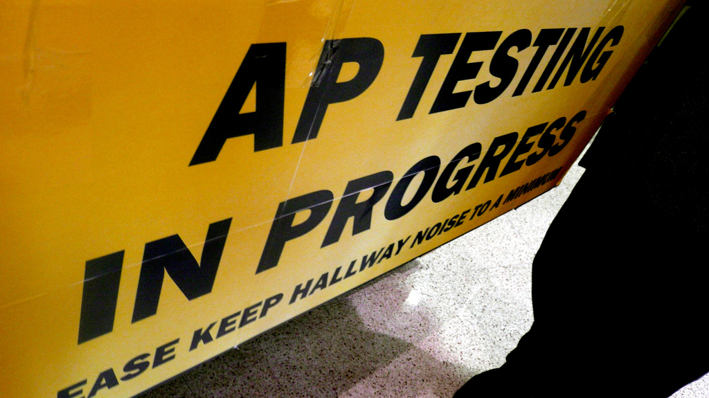AP Testing In Progress sign, Neuqua Valley High, Chicago. Photo by Flickr User Cory Doctorow.