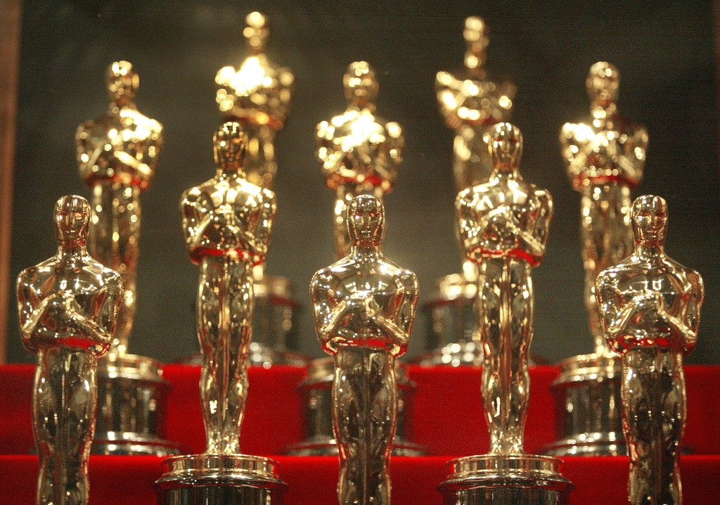 Oscar statuettes sit out before Sunday's 86th Annual Academy Awards. Photo by Tim Boyle/Getty Images