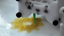 Author A.J. Jacobs and his wife Julie cook an entire meal using a 3-D printer. This pasta wheel was one of the courses. Photo by PBS NewsHour