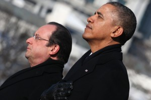 President Barack Obama stands with French President Francois Hollande for the national anthem during a welcoming ceremony on the South Lawn at the White House on Tuesday. Photo by Mark Wilson/Getty Images