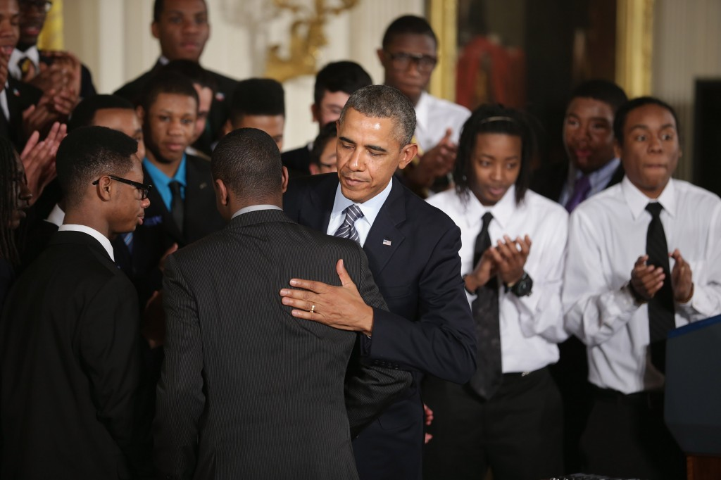 President Obama embraces a student after delivering remarks about his 'My Brother's Keeper' initiative in the East Room at the White House Thursday. Photo by Chip Somodevilla/Getty Images