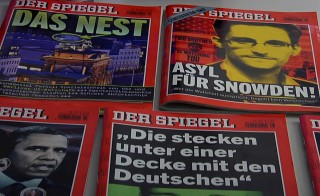 "A Der Spiegel cover reads ""Asylum for Snowden."" Photo by Eric O'Connor"
