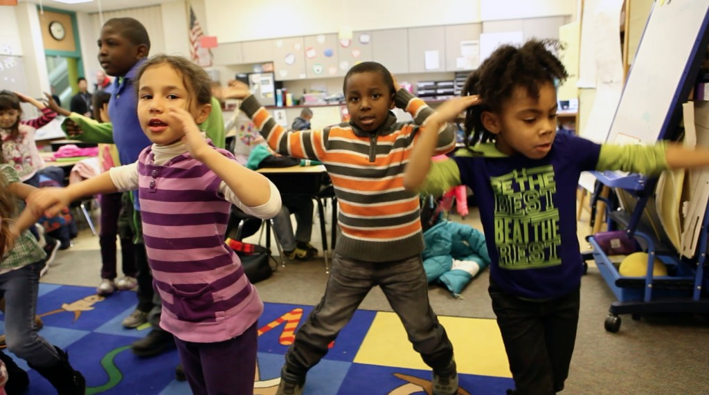 Students at Fox Hill Elementary school in suburban Indianapolis, Indiana take dancing 'brain breaks' in class.  Photo by Mike Fritz