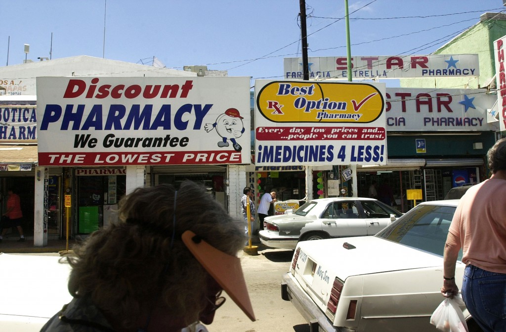 Pharmacists across the border draw U.S. citizens looking to buy cheaper prescription drugs in Nogales, Mexico. Savings between drugs sold in Mexico and the equivalent sold in the U.S. can be significant. Photo by Norma Jean Gargasz/Getty Images