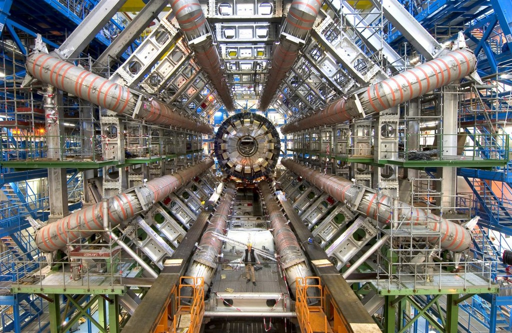 Installing the ATLAS calorimeter at the Large Hadron Collider in Switzerland. Photo Courtesy of CERN