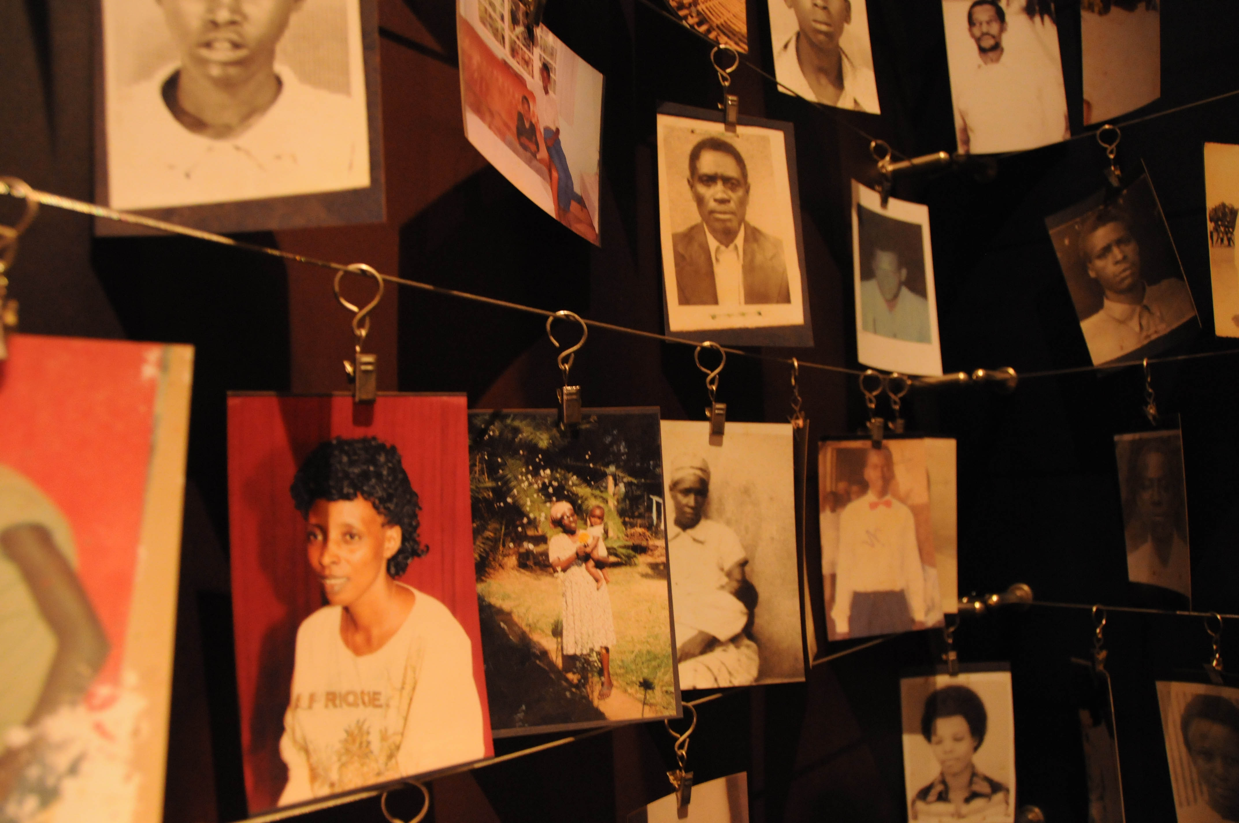 In the first genocide trial in France, a Paris court is trying a suspected perpetrator in the 1994 genocide in Rwanda. Above, photos of victims of the genocide hang in the Kigali Genocide Memorial in Kigali, Rwanda. Photo by STEVE TERRILL/AFP/Getty Images.