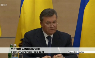 Deposed Ukrainian President Viktor Yanukovych holds a press conference in Russia. Image by BBC