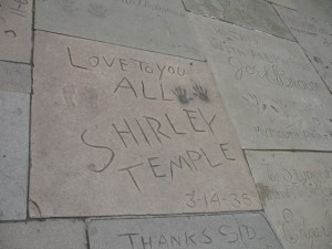 Shirley Temple's handprints and footprints at Grauman's Chinese Theater in Hollywood. Photo by Flickr user mollyh61398