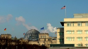 The American Embassy in Berlin, right, can be seen right next to the Reichstag, the seat of the German Parliament. Photo by Eric O'Connor