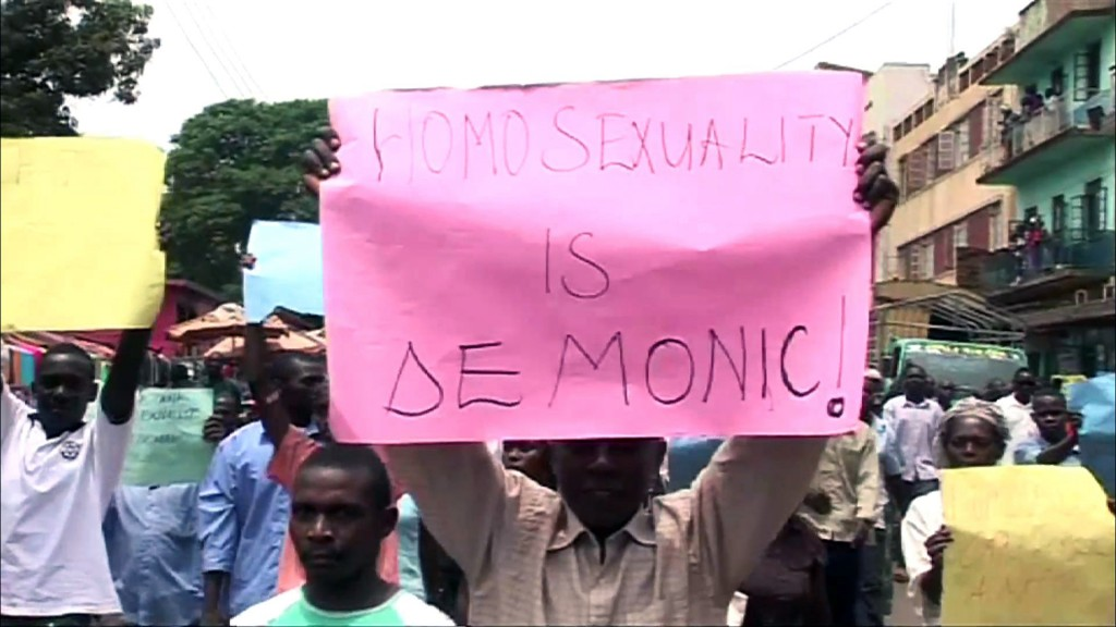Uganda on Monday passed a law that would severely punish what the state deems homosexual acts. 2012 archive photo of Ugandan demonstrators by NewsHour
