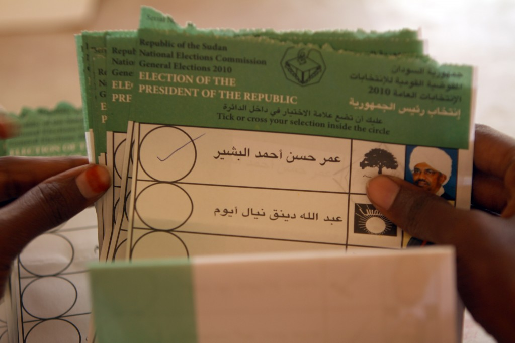 Ballots are counted in Sudan after elections in April. Photo by Patrick Baz/AFP/Getty Images