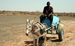 A man transports water in the village of Abyei in southern Sudan. Photo by Larisa Epatko