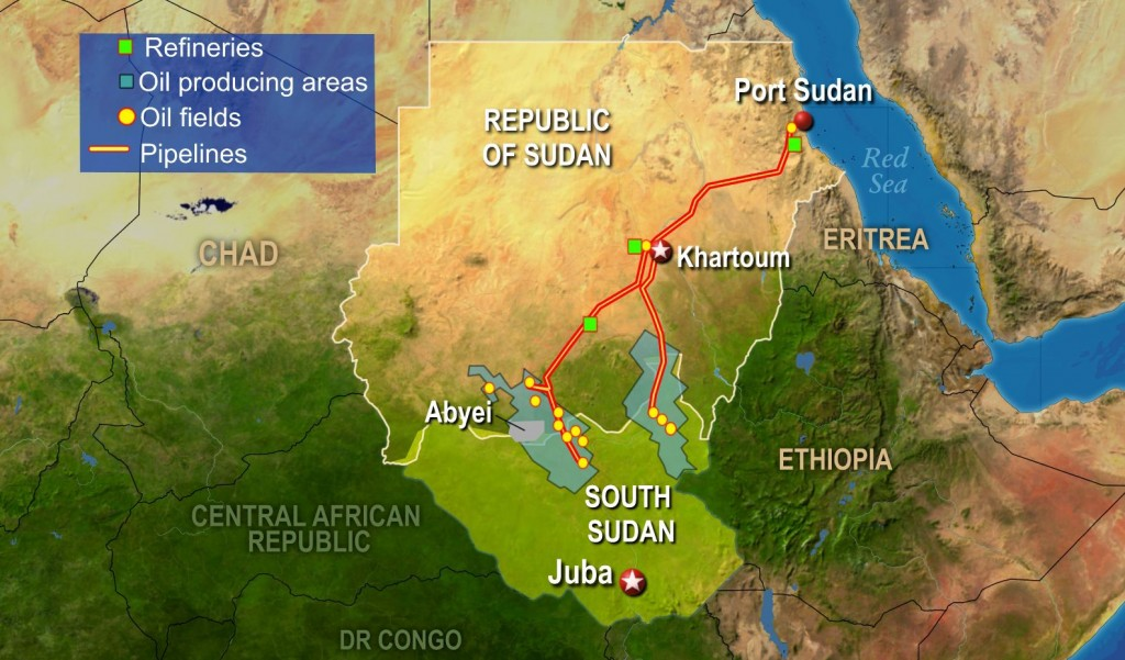 Pipelines in Sudan and South Sudan