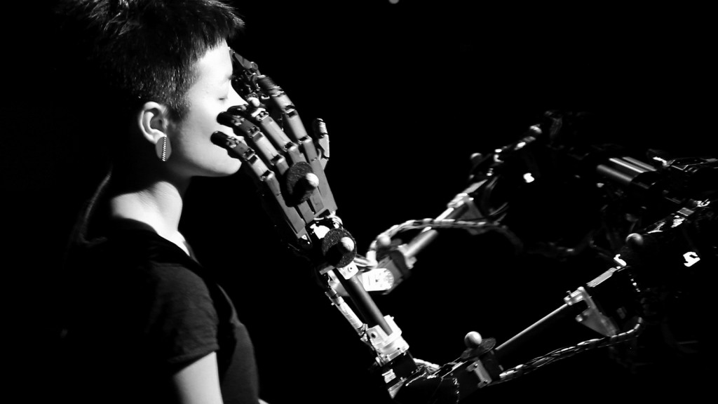 Robots still lack the interpersonal skills that will continue to give humans an advantage in the labor market. Photo by Louis-Philippe Demers via Flickr user Ars Electronica.