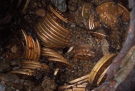 "The ""Saddle Ridge Treasure"" -- a collection of over 1,400 gold coins worth an estimated $10 million -- was found by a couple walking their dog on their property. Photo via Kagin's"